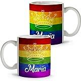 LolaPix Taza Día del Orgullo Personalizada con tu Nombre o Texto. Varios Diseños LGTBQ a Elegir. Regalo Original y Exclusivo. Corona