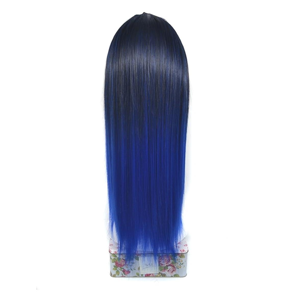 天窓然とした賭けBOBIDYEE ノンマーキングケミカルファイバーヘアーエクステンションリアルなロングストレートウィッグハーフヘッドカバーロング65cmとマルチカラー選択のためのU字型ハーフヘッドヘアピースロールプレイングウィッグ (色 : Black gradient sapphire blue)