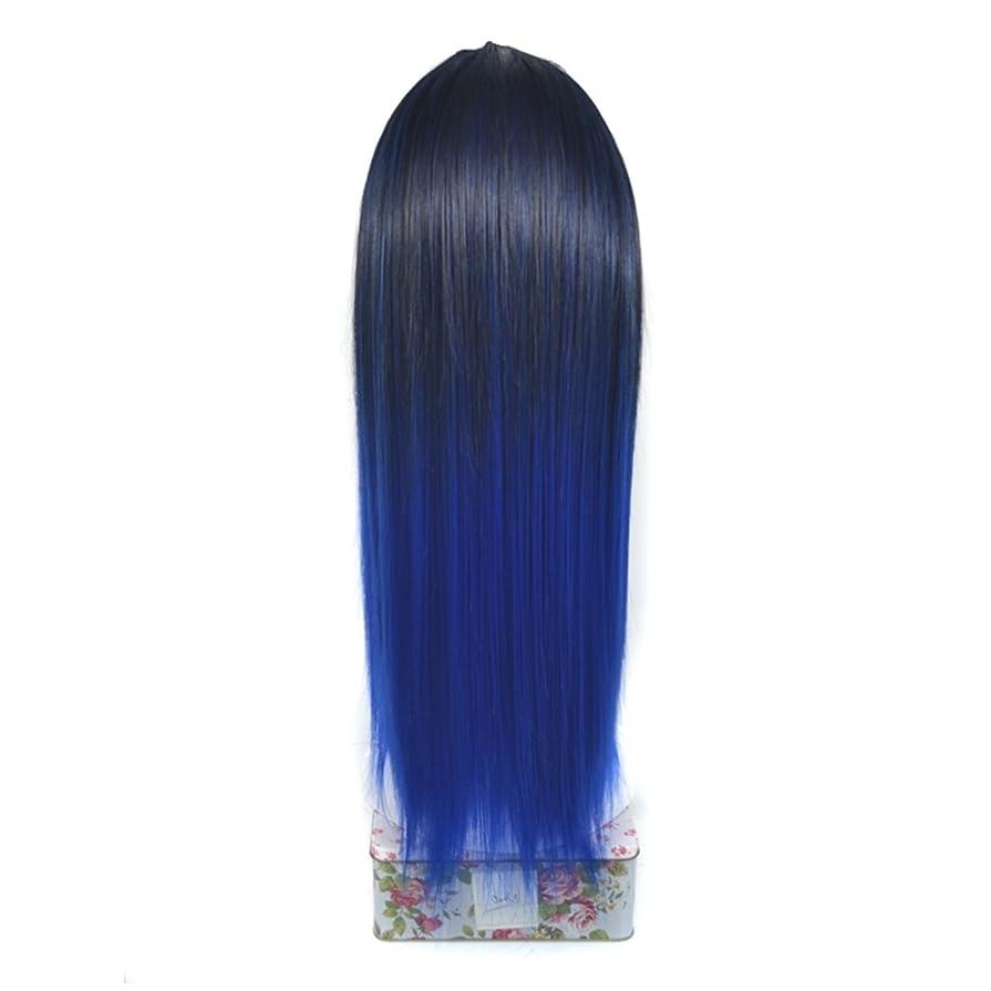 役に立たない影のある肌BOBIDYEE ノンマーキングケミカルファイバーヘアーエクステンションリアルなロングストレートウィッグハーフヘッドカバーロング65cmとマルチカラー選択のためのU字型ハーフヘッドヘアピースロールプレイングウィッグ (色 : Black gradient sapphire blue)