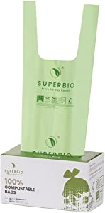 SUPERBIO ASTM D6400 100% Compostable Trash Bags with handle, 13 Gallon, 50 Liter, 30 Count, Extra Thick 0.87 Mils, Food Scrap Heavy Duty Kitchen copmpost Trash Bags,Thicken Tall Kitchen Garbags Trash Bags for Lawn Kitchen,US BPI and Europe OK Compost Certified.