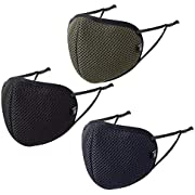 Reusable Fabric Face Mask Unisex Washable with Adjustable Ear loops Air Mesh Max by Badger Smith (Large, Black Navy Olive Green Pack of 3)