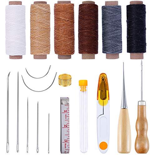 6色 蝋引き糸 レザークラフト 工具 セット ロウ引き +千枚通し+ 手縫い針 手作り 19点 初心者 工具 セット
