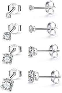 Sterling Silver Stud Earrings for Women Girls Men- 4 Pairs Hypoallergenic Cubic Zirconia CZ Studs Small Round Simulated Diamond Earrings Cartilage Tragus Helix Earrings Set (2mm 3mm 4mm 5mm)