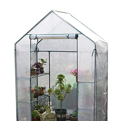 Serres de Jardin Tunnel Cottage Greenhouse - Mini à 3 Niveaux avec Couvercle résistant, 143 × 73 × 195 cm Tomate (Couleur : Blanc)