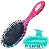 Oleh-Oleh Detangle Hair Brush Pro for Wet and Dry Hair + Shampoo Brush,Scalp Massager (blue+red)