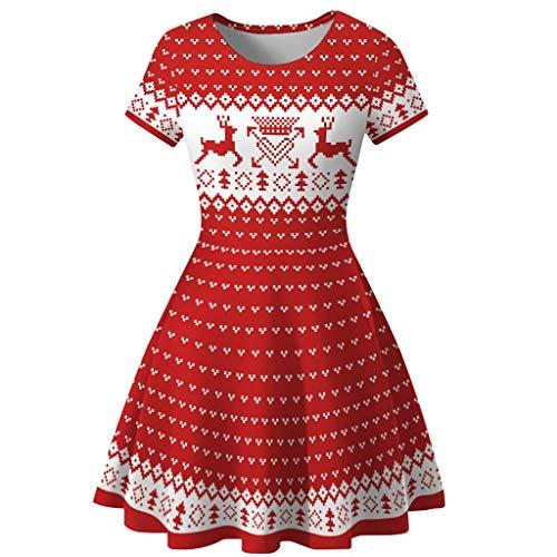 XNBZW Femmes Bonhomme De Neige Robes de Noël À Manches Courtes Imprimer Vintage Costume Robe de Fête Swing Rouge A S