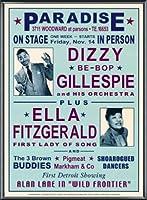 ポスター デニース ローレン Dizzy Gillespie and Ella Fitzgerald at Paradise 1947 額装品 アルミ製ベーシックフレーム(ブラック)