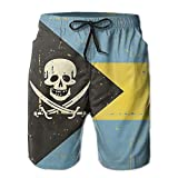 Bahamas Flag Skull Hand Painted Mens Quick Dry Sports Summer Printing Swimwear Beach Board Shorts Trunks Pants Britches Medium