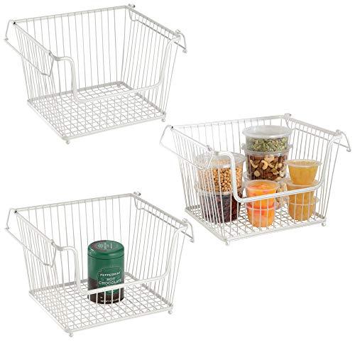 mDesign Set da 3 Contenitori metallici –Capienti cestini portaoggetti ideali come organizer cucina – bianco perla