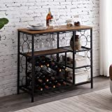 Hombazaar Industrial Wine Rack Table with Glass Holder and Wine Storage, Console Table wit...