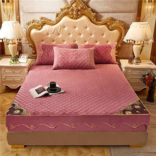 FFLDM Cubre colchón,Sábanas Ajustadas de Terciopelo de Cristal de Color sólido más Gruesas para Mujer, Funda Protectora de colchón de Terciopelo Coralino-Pink_150x200 + 30cm