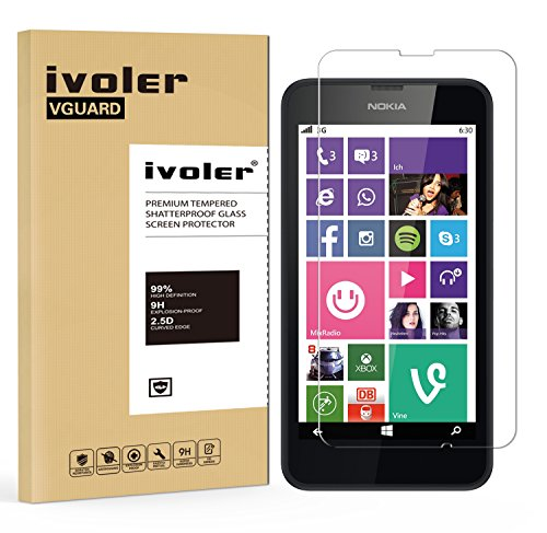 ivoler Panzerglas Schutzfolie für Nokia Lumia 630 / Nokia Lumia 635 [9H Härte] [Anti- Kratzer] [Bläschenfrei] [2.5D Runde Kante]