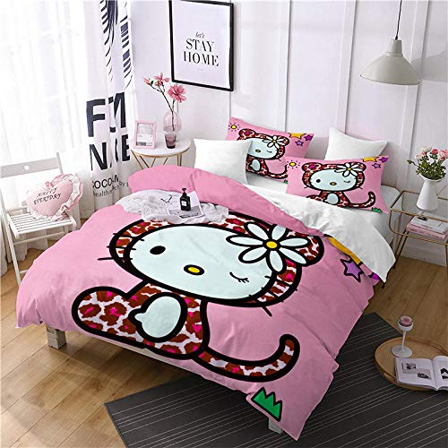 Snoevpar Bedding Duvets Sets Cartoon Animal Cat 230 * 220Cm Bedding Bed Set 3 Piece Ultra Soft Thick Hypoallergenic Modern Quilt Cover + 2 Pillow Cases 50 * 75Cm