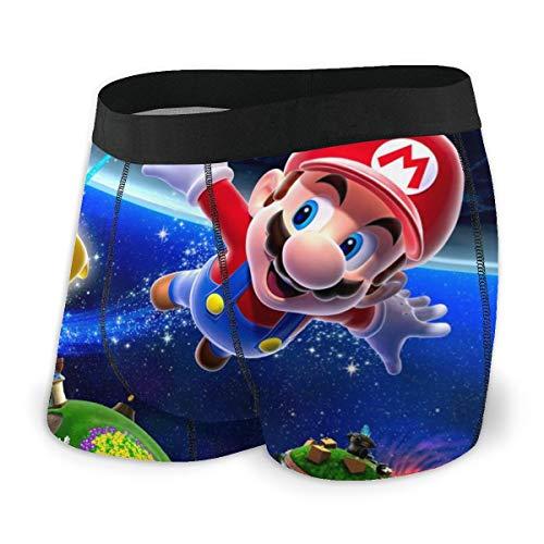 HJFRDVBNT Super Mario Herren Boxershorts Unterhose Bedruckte Baumwolle Unterhose Elastisch Atmungsaktiv Und Bequem Viele Größen XL Schwarz