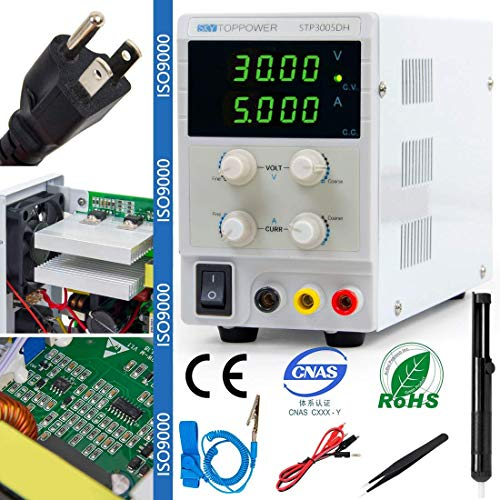 DC Power Supply Variable Bench Lab Adjustable Switching Regulated 30V 5A with 4 Bit Digital Readout...