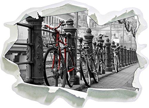 Vélos axe navigable noir blanc, taille d'autocollant / mur 3D de papier: 92x67 cm décoration murale 3D Stickers muraux Stickers