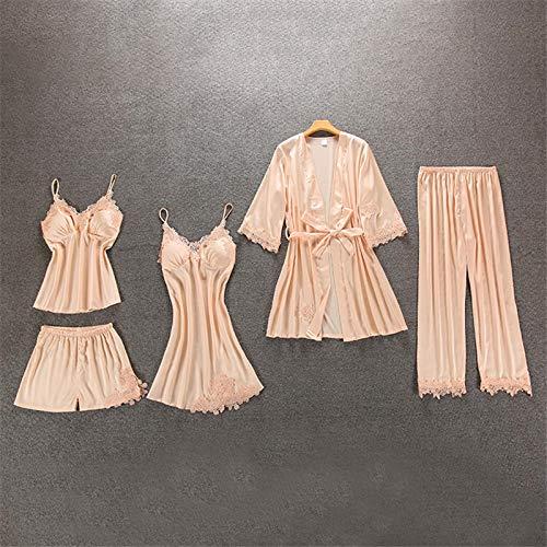 Dames Pyjama,5 Stks Sexy Lingerie Pyjama Set Voor Vrouwen Satijn Zijde Lange Mouw Gewaden Camisole Lace Robe Tops Shorts Nachtkleding NachthemdHomewear Loungewear