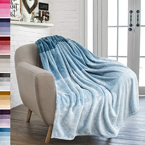 PAVILIA Flannel Fleece Ombre Throw Blanket for Couch | Soft Cozy Microfiber Couch Gradient Accent Blanket | Warm Lightweight Blanket for Sofa Chair Bed | All Season 50x60 Inches Turquoise Blue