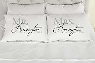 303T Set of 2 Standard/Queen Personalized Couples Pillow Cases, Mr. and Mrs. Printed Pillowcases, Wedding Gift, Anniversary, Bridal Shower Gift
