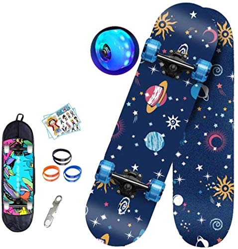 Woodtree Skateboard Skateboard Retro Completo for ni?os, Adolescentes, Adultos, Principiantes, Profesionales, Tabla de Truco de Doble Patada, con Rueda de Flash, con Herramienta Todo en patín,Color:B