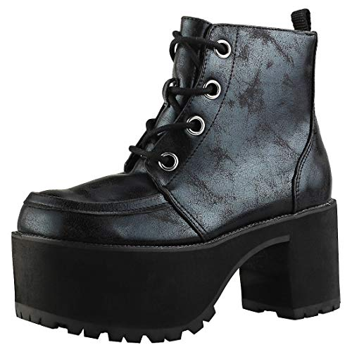 T.U.K.. Shoes Women's Distressed Black 4-Eye Nosebleed Boot EU41/UKW8