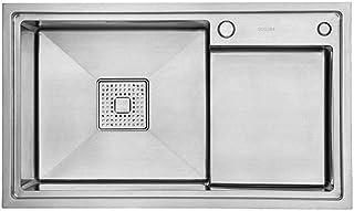 QingH yy Évier Simple, Bac en Acier Inoxydable 304 avec Marchepied Et Porte-Filtre Escamotable 0728