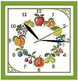 Doce tipos de frutas kit de punto de cruz 11CT cuenta impresi¨®n lienzo reloj de pared puntadas bordado DIY costura 11ct lienzo sin imprimir