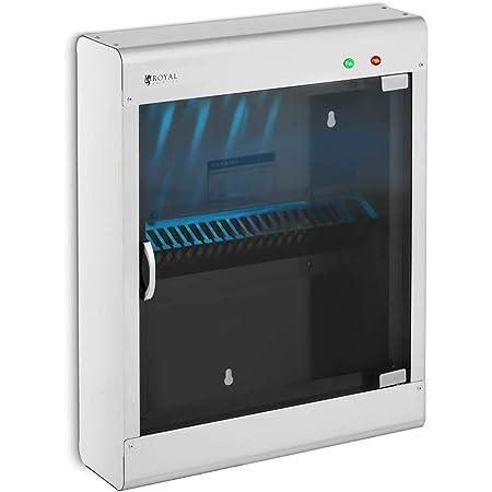 Royal Catering Stérilisateur UV Pour Couteaux Armoire De stérilisation Ultraviolet Lumière Ultraviolette RC-KSSS501 (Pour 20 Couteaux, 8 W, Boitier en Inox, Porte en Verre Acrylique, Minuterie 60 min)