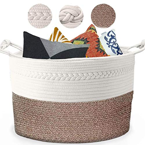 Piper and Olive Large Woven Basket - Large Baskets for Blankets - Extra Large Storage Baskets Woven - Large Blanket Basket Living Room - Cotton Rope Basket - Toy Basket - XXXL 22