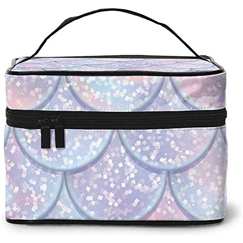 Glitter Fish Scales Mermaid Tail Portable Ladies Travel Cosmetic Case Bag Storage Makeup Pouch Multi-Function Wash Large Capacity