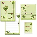 Blocco di carta da lettere Klee con coccinelle – 1 blocco per scrittura DIN A4 + 15 buste DIN orizzontale, 7200+657-15 1 Briefblock + 15 Kuverts mit Mappe