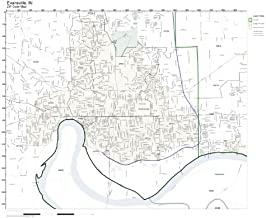Working Maps Zip Code Wall Map of Evansville, in Zip Code Map Laminated