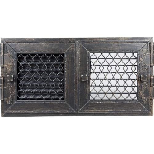 Warmluftgitter Retro Graphit Ofen 23,8x46,0 cm mit 2 Türen Kaminofen Kamin Heizeinsatz