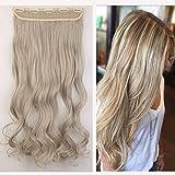 Clip in Extensions wie Echthaar Haarteile Gewellt für 3/4 Haarverlängerung 1 Teil 5 Clips günstig Haarextensions 24'(60cm)-120g Honigblond/Silbergrau
