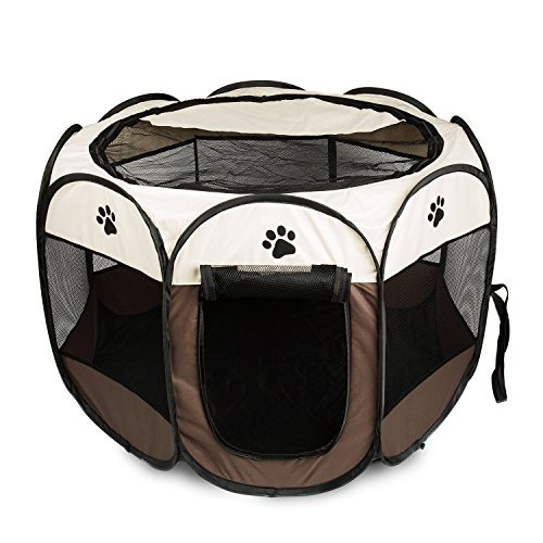 BIGWING Style Welpenlaufstall/Tierlaufstall/Hundehütte/Welpenauslauf/Laufstall für Hunde/Katzenhaus/Wasserdichtes Zelt für Kleintiere wie Hunde, Katzen (L, braun)