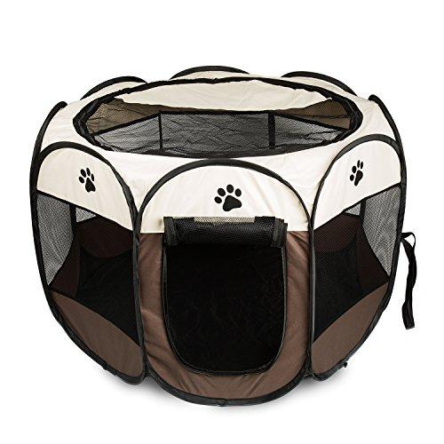 BIGWING Style Recinzione per Cuccioli - Grande recinto per Animali da Usare all'Interno e all'Esterno- Facile da Montare Coffee L
