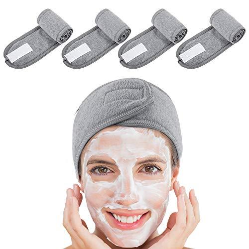 You&Lemon 4 Stück damen Haarband für Make Up verstellbare SPA Stirnband mit Klettverschluss für kosmetische Behandlungen Haarschutz bei Schminken Sport Yoga(GY)