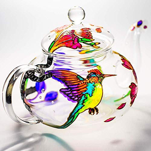 Hand Painted Glass Teapot Personalized Hummingbird Tea Pot with Removable Infuser Heat Resistant Handmade Mothers Day Gift Idea for Women Friend Mom Coworker