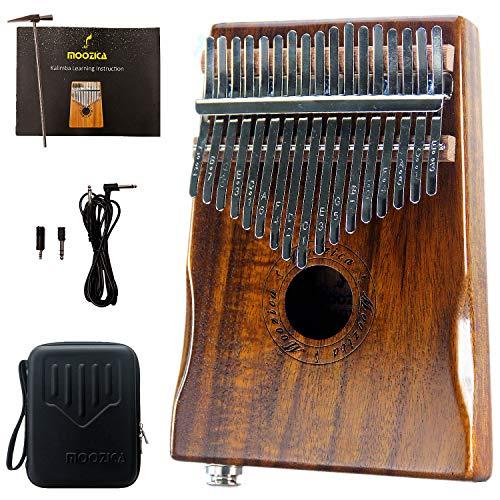 Moozica 17-Tasten-EQ Kalimba, Koa Ton Holz Electric Kalimba Daumen mit integriertem Tonabnehmer mit 6,35 mm Audio-Schnittstelle und professioneller Kalimba Tasche (K17K-EQ)