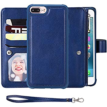 SAVYOU iPhone 8 Plus Case,iPhone 7 Plus Wallet Case with Magnetic Detachable Cover fit Car Mount [8 Credit Card Slots] [Wrist Strap] 2 in 1 Folio Flip Durable PU Leather Wallet Kickstand Case  Blue