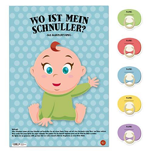 avandu Wo ist Mein Schnuller? Babyparty Spiel mit 20 Aufklebern - Partyspiel Gesellschaftsspiel