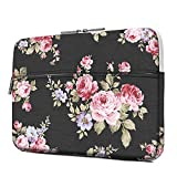 iLeadon 13 inch Laptop Sleeve with Pocket, Peony Pattern Canvas Laptop Carrying Case Compatible 13.3 inch MacBook Air Pro Retina Surface Chromebook 12.9-inch iPad Pro Tablet Case, Blooming Peony