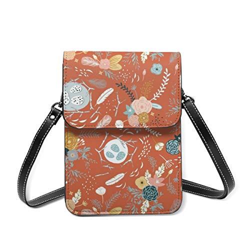 Kleine Damen-Umhängetasche – Federn, Blumen, Terrakotta, Handy, Geldbörse, Geldbörse, Taschen, Mehrzweck, weiches PU-Leder