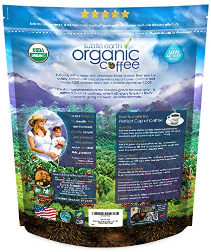 2LB Subtle Earth Organic Coffee - Medium-Dark Roast - Whole Bean - Organic Arabica Coffee - (2 lb) Bag 3 Certified Organic by CCOF - 100% Arabica Coffee - GMO Free 2LB - Whole Bean - Medium-Dark Roast Rich and chocolatey with profound depth of flavor, velvety body, and low acidity