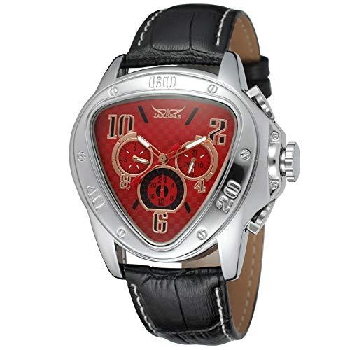 Flytise Reloj mecánico automático para Hombre con Reloj de Pulsera de Moda con Correa de Cuero
