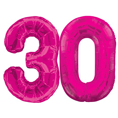 ballon boutique Villingen XXL Folienballon - Jumbo Zahl 30 ca. 85cm Pink