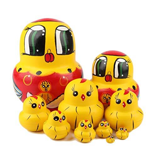 10 pezzi set bambole in legno, bambole modello Sahoga bambole russe matrioska fai-da-te bambole di incastramento giocattolo impilabile per regalo per bambini