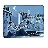 夜パリの屋根の上の音楽トランペット奏者エッフェルムーンヨーロッパイラストプリントブラックダークブルーラージマウスパッドマット滑り止めW8xL9.5