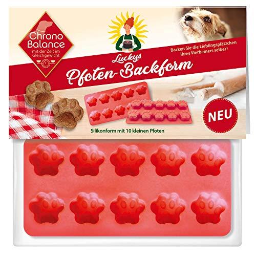 ChronoBalance® Silikon Backmatte, Backform wiederverwendbar für Hunde-Kekse, BPA frei, 10 Pfoten für Hundekekse und Hundeleckerlies zum Selbermachen in Pfotenform, auch für Pralinen- und Eiswürfel