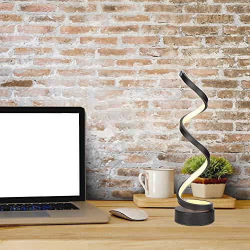 ELINKUME Dimmbare LED Spiral Tischleuchte - 12W Warmweiß Augenschutz LED Gebogene Nachttischlampe - Schwarz